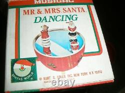 Rare Vtg Musical Dancing Mr & Mrs Santa Claus Music Box Mirror Kurt Adler