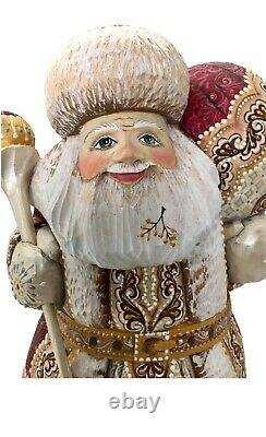 Russian Art Santa Clause Wooden Hand Carved Hand Paint Sign by the Artist