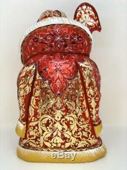 Russian Hand Carved Painted Wood Santa Claus Christmas 12.2 31cm Golden Leaf
