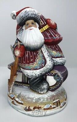 Russian Hand Carved Painted Wooden Wood Santa Claus 8,2 (21cm)