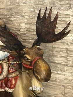 Russian Hand Carved Painted Wooden Wood Santa Claus and Moose 46cm 18.11