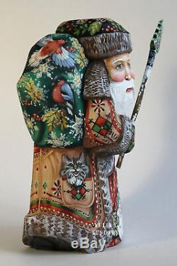 Russian Santa Claus Father Frost Wood Hand Carved Hand Painted SIGNED