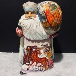 Russian Santa Claus Father Frost Wooden Hand Carved Hand Painted Artist Signed