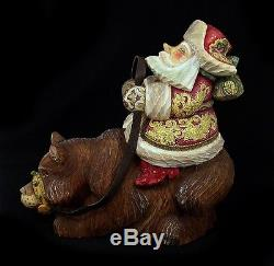 Russian Santa Ded Moroz riding a BEAR Hand Carved & Painted #0964