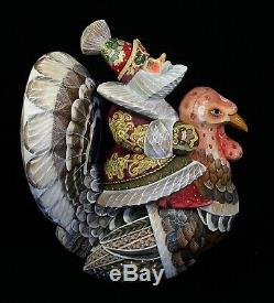 Russian Santa riding TURKEY Hand Carved & Painted