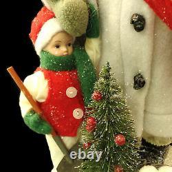 SANTA CLAUS CHRISTMAS FIGURE DISPLAY with CHILD / PRIMITIVE FARM HOUSE