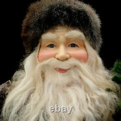 SANTA CLAUS FIGURE with EVERGREEN TREE / GLASS EYES / LODGE & CABIN / LARGE