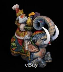 SANTA RIDING AN ELEPHANT Hand Carved & Painted #1071 Exclusive artwork