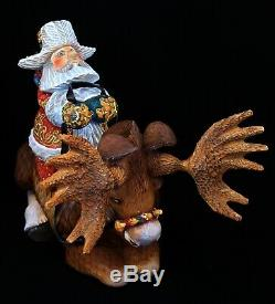 SANTA on MOOSE Exclusive Hand Carved & Painted