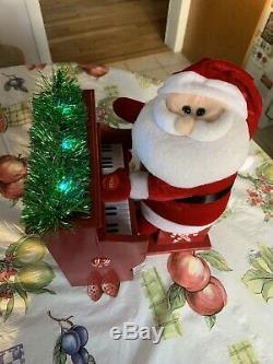 Santa Claus Animated Light Up Musical Plush Figure Plays Piano Christmas Carols