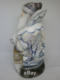 Santa Claus Christmas Bear Cub Mishk Carved Hand Painted Russian Ded Moroz