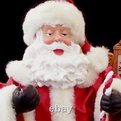 Santa Claus Christmas Figure Display / Fabric Mache / Santa & Toy Sack #212206