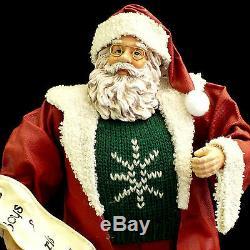 Santa Claus Christmas Figure / Fabric Mache / Checking His List Twice