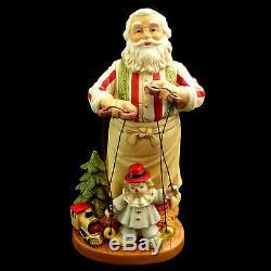 Santa Claus Christmas Figure / Santa & Marionette Clown Puppet / Porcelain