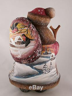 Santa Claus Christmas Gift Sack Troika Wooden Carved Hand Painted Ded Moroz