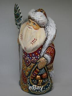 Santa Claus Christmas Gift Sack Wooden Carved Hand Painted Russian Ded Moroz