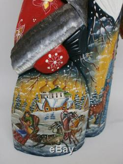 Santa Claus Christmas Sack Lantern Light Carved Hand Painted Russian Ded Moroz