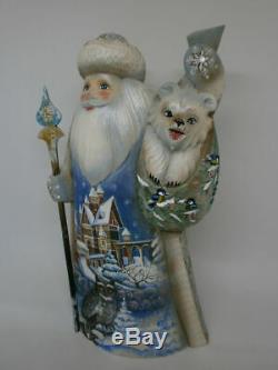 Santa Claus Christmas Xmas Polar Bear Cub Owl Hand Painted Russian Ded Moroz