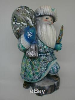 Santa Claus Christmas Xmas Tree Gifts Sack Stump Hand Painted Russian Ded Moroz