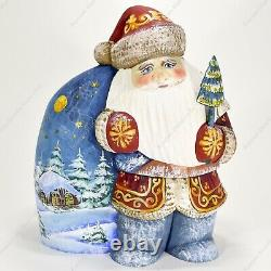 Santa Claus Figure With The Big Sack Christmas Russian Hand Carved Wooden Statue