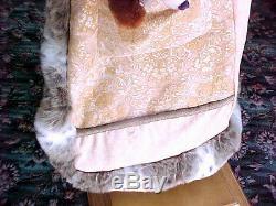 Santa Claus Old World Vintage 78 Tall Holiday Figure Fur Trim Full Length Coat
