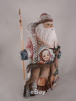 Santa Claus Reindeer Girl Christmas Wooden Carved Hand Painted Russian Ded Moroz