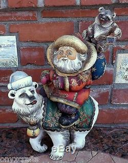Santa Claus Riding Polar Bear. Hand Carved and Hand Painted in Russia. Large