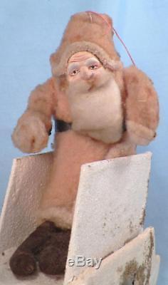 Santa Claus & Sleigh Christmas Ornament Decoration Cotton Cardboard Vintage