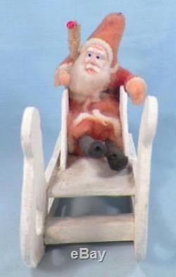 Santa Claus & Sleigh Tree Christmas Decoration Cotton Cardboard Japan Vintage #2