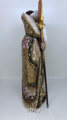 Santa Claus Wooden Carved Christmas Decor 12.2 31cm NATIVITY Scene Hand Painted