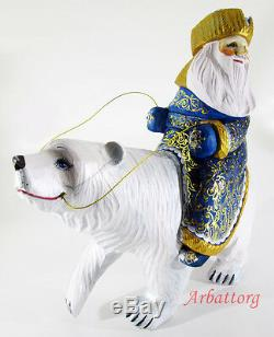 Santa Claus on white bear Ded Moroz Russian Wooden Carved Hand Painted #25