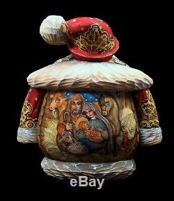 Santa Hand Carved and Painted withNativity Scene VERY SPECIAL #1058