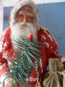 Santa claus german papermache with feather tree and donkey old