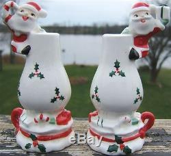 Santa claus oil lamp Christmas mg ceramic salt pepper shakers japan vintage 60s