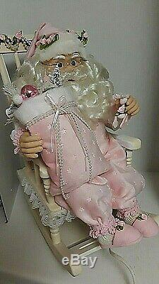 Shabby Chic Pink Santa Claus Rocking Chair Large Christmas Animated