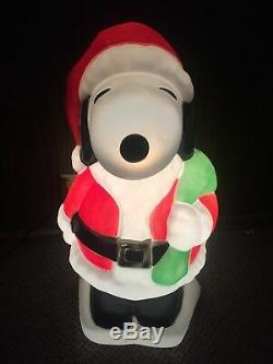 Snoopy Santa Claus Christmas Blow Mold Lighted 32 In