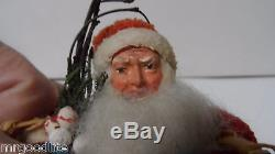 Spectacular Germany Compo Face SANTA CLAUS w 2 WICKER BASKETS for Candy