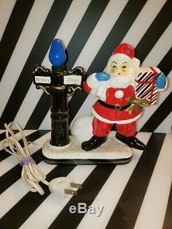 VINTAGE 50s CHRISTMAS SANTA CLAUS LAMP LIGHT FIGURINE DECORATION BROADWAY STORE