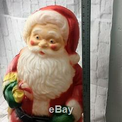 VINTAGE CHRISTMAS SANTA CLAUS BLOW MOLD Lighted Rosie Cheeks Red Green Lawn