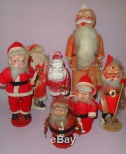 VINTAGE GREEK LOT x7 SANTA CLAUS CHRISTMAS DOLLS FIGURES GREECE 1950s very rare