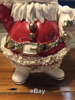 VINTAGE Napco Large 13 Santa Claus Christmas Planter Spaghetti Trim ILX 2759 R