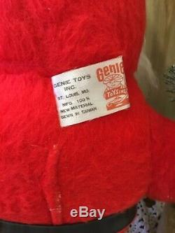VTG 1950s Rubber Face 17 Santa Claus Christmas Plush Doll Decor Genie Toys NOS