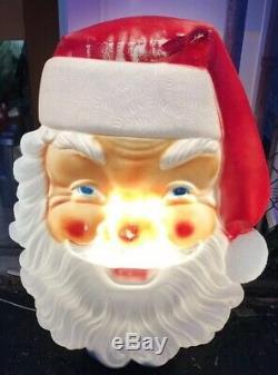 VTG 70s EMPIRE Plastic Christmas Santa Claus Face Blow Mold 36 Light Up