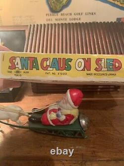 VTG Celluloid Santa Claus on Sled Toy Occupied Japan Bell Wind Up Orig. Box &Key