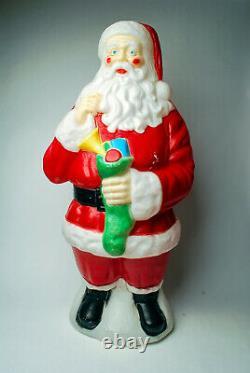 VTG Empire 40 Santa Claus Blow Mold Christmas Lighted Green Stocking yard decor