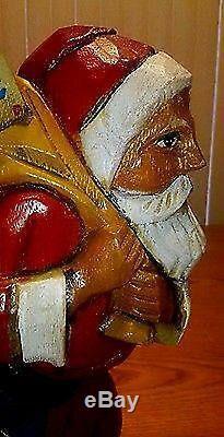 VTG German Hand Carved Wooden Santa Claus KÄTHE WOHLFAHRT 12 Wood Rare Xmas