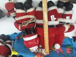 VTG LOT 15 Xmas Santa Claus Dolls Richs Coca Cola Rubber Face Christmas Used