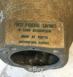 VTG Sleeping Santa Claus Metal BANK Hutchinson KANSAS First Federal Mold Rare