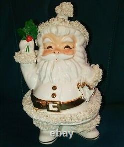 Vintage 10 Napco Spaghetti White Santa Christmas Holiday Vase Planter ILX2725/W