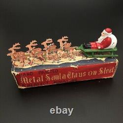 Vintage 1940s Hand Painted Metal Santa Claus on Sled Japan in Box